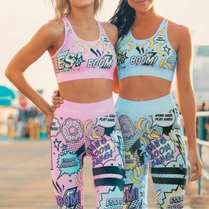 GYM Set Women Tracksuit Graffiti Sportswear Yoga Set Tracksuit For Women, Workout Set Clothes Gym Clothes 2 Piece Leggings