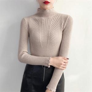 Pateekate cálida hilo medio cuello alto suéter que basa la camisa delgada de la mujer suéter salvaje otoño e invierno 2019 nueva