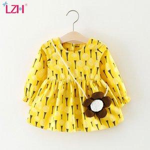 Abito LZH 2020 autunno casuale Sun Flower modello della stampa del vestito per neonate Bambini Newborn Abiti da sposa festa di compleanno 0-3 anni
