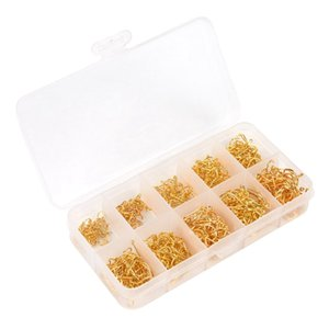 500pcs Sea Fish Jig Hooks with Hole Fishing Tackle Box 3# -12# 10 Sizes Carbon Steel Gold