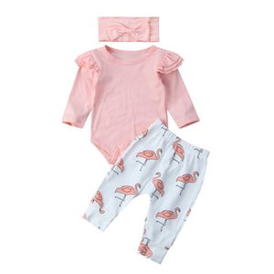 2020 Autumn New Infant Toddler Newborn Baby Girls Romper Long Sleeve Tops Flamingo Pants Headband 3PCS Clothes Set Outfits 0-18M