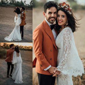 Bohemian Full Lace Wedding Dresses Long Sleeves Beach Wear Backless Mermaid Wedding Dress V Neck Cheap Bridal Gowns vestidos de novia