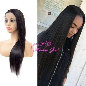"""8 """"-26"""" Natural Black Lace Front прямые парики волос Скидка 13x6 фронта шнурка парики 13x6 Премиум парики шнурка"""