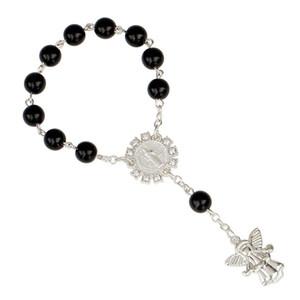 Braccialetti di fascino le donne monili 8 millimetri Angelo argento del rosario borda il braccialetto cattolica Gesù Bangles 7 colori L105FA