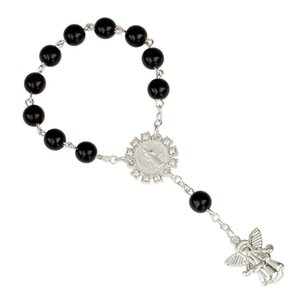 Frauen-Charme-Armbänder Schmuck Mode 8mm Silber Engel Anhänger Rosenkranz Armband katholischen Jesus-Armbänder 7 Farben L105FA
