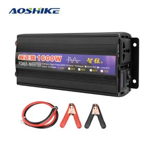 Inverter Car AOSHIKE 1PC Pure Sine Wave Power Converter DC12V / 24V para AC220V 50Hz 1600W para Car Inverter Household