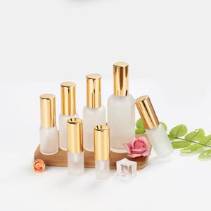 Essence Oil Loção Bomba Bottle recipientes cosméticos frasco de spray de vidro fosco Esvazie frasco de 10ml 15ml 20ml 30ml 100ml 15PCS
