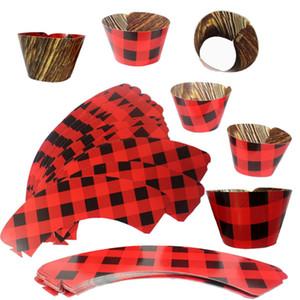 La torta decora il nero rosso traliccio torte creative tazza di carta ornamento del partito campeggio cottura carta inserimento vendita diretta della fabbrica 4 1gh p1
