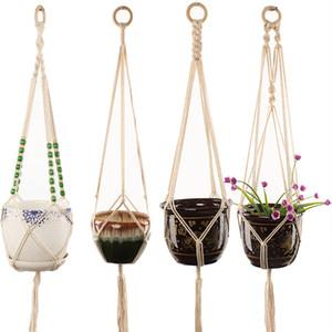 Geknotet Makramee Pflanze Blume Seil-Pot-Aufhänger-Haken-Baumwollleinen Flowerpot Hangeltau Korb Blumentöpfe und Pflanzschmuck
