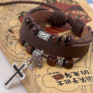 Jesus Cross Bracelet Leather Multilayer Wrap Bracelet Bangle jewelry women bracelets mens bracelets Gift will and sandy
