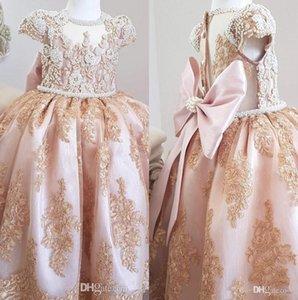 Mangas cortas de la vendimia de encaje de una línea de flores Vestidos de las niñas Perlas de cuentas Arco Sash Fiesta de las niñas Concurso Fiesta de cumpleaños Vestidos de princesa