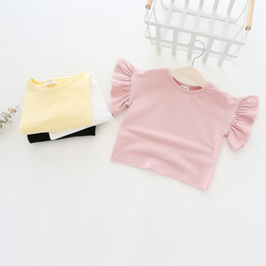 New girl kids clothing t shirt 100% cotton O-neck Ruffles short sleeve girl t shirt solid color girl summer t-shirt
