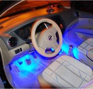 4x 3 LED Blue Car Charge интерьера аксессуары для ног автомобиля декоративные 4в1 фары Интерьер украшения Свет
