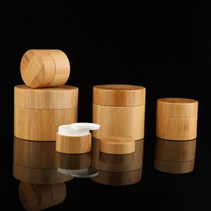 Cheio de bambu cosmético Creme Jars Rodada Garrafas com branco Jar PP interior e tampa Usado para enfrenta a mão Body Cream 15g a 100g