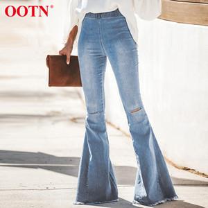 OOTN повседневная Высокая Талия расклешенные джинсы дамы хлопок джинсовые брюки узкие женские джинсы 2019 Осень Зима рваные широкие брюки ноги