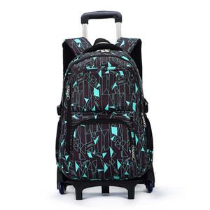 SIXRAYS Дети мальчики девочки вагонетки Schoolbag багажа Книга сумки Рюкзак Последние Съемные Дети Школьные сумки с 6 колесами Лестницы Y200706