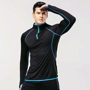 Seta del latte Autunno a maniche lunghe forza elastica Collant Maschio A velocità fare la metà catena Run Training Bodybuilding Servire Jacket