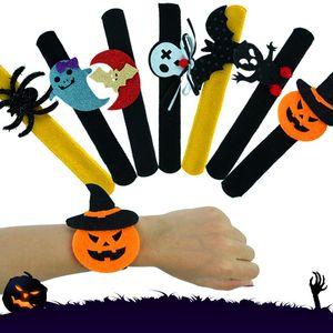 Halloween Bracelet Wristband Rings Slap Clap Bracelet Party Decoration For Pumpkin Ghost Bat Spider Plush Hand Circle Kids Adult HH9-2310