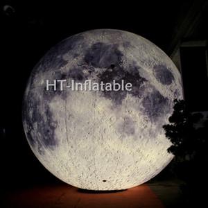 شحن مجاني 2M القطر العملاق نفخ LED إضاءة القمر للديكور، قابل للنفخ الكواكب، نفخ البالون القمر للبيع