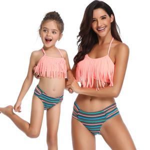 Verão Família Combinando Swimwear Mãe Filha Mulheres Crianças Do Bebê Meninas Maiô Biquíni de duas Peças sexy Swimwear