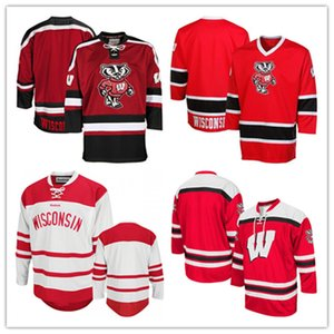 Individuelle Wisconsin Badgers Face Off Hockey Jersey 2019 NCAA Hockey Jersey Weiß Rot genähtes Alle Nummer Name Jersey S-3XL