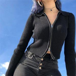 Las mujeres otoño invierno Nueva atractiva delgada cremallera chaqueta de solapa cuello de punto acanalado suéter corto femenino de la venta caliente Sólido Tops