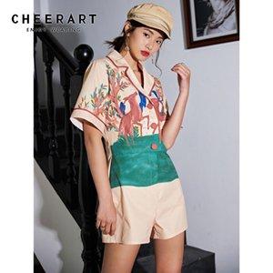 CHEERART Женщины Лето легкий костюм с шортами 2020 Deer животных печати Ромпер Шорты Combishort V шеи Комбинезон Модная одежда