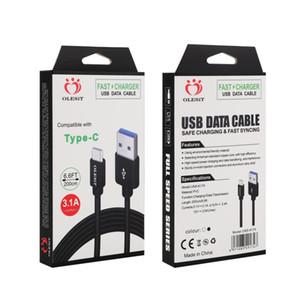 cable de tipo C-Olesit 2M 3M 6.6ft 10FT 3.1A cargador rápido Micro USB Cable de datos para Baseus Huawei Samsung con caja al por menor