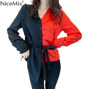 NiceMix 2019 Neue Einreiherhemden Patchwork Umlegekragenbluse Langarm Unregelmäßige Schnürung Mujer Blusas Contract Col