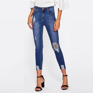 Blue Bleach Wash Distressed Rock Denim Jeans Women Casual High Waist Button Fly Ripped Pants Wholesale Skinny Jeans