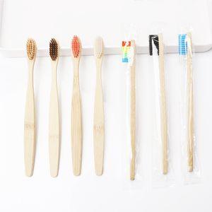Doğal Bambu Kolu Diş Fırçası Gökkuşağı Renkli Beyazlatma Yumuşak Kıllar Bambu Diş Fırçası Çevre Dostu Ağız Bakımı