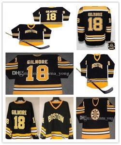 Дешевые ретро мужские футбочки Boston Bruins Hockey 18 счастливых Gilmore черный желтый желтый цвет вышивки Джерси, размер заказа S-3XL