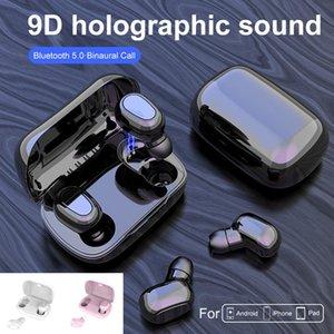L21 Kablosuz Kulaklık Bluetooth 5.0 Kulaklık Mini TWS Spor Stereo Kulaklık ile Mikrofon Gürültü Hücre telefonu için Kutusu Şarj iptal