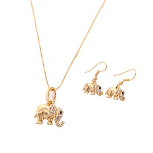 African Western Design Cute Elephant Set Trendy color oro animale pendente orecchini gioielli fortunati