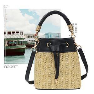 Pretty2019 Bag Straw Plaited Article Fold Pulling Rope Mini- Bucket Paquete de un solo hombro Paquete Tide Woman