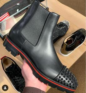 Hiver Hommes Bottes Bas Rouge, Mid Boot Marque Man Bottines talons bas en cuir noir avec des rivets Spikes bottes moto caoutchouc rouge Soles