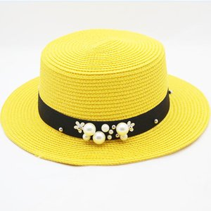 SUOGRY Women Summer Beach Sun Cap 2018 New Brand Flat Top Straw Hat Men Sailor Hats Bone Feminino