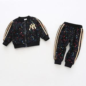 Toddler Kız Giyim Setleri 2018 Sonbahar Kış Kız Elbise Fermuar Ceket + pantolon Çocuk Eşofman Kız Spor Takım Elbise Çocuk Kostüm Y190518