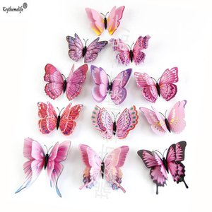 12pcs Pack Double Layer Butterfly Wall Stickers 3D Butterflies Colorful Bedroom Decor For Home Decoration B5