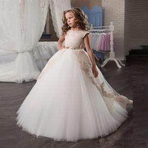 Niña de encaje sin mangas vestido de niña nueva flor para las bodas Vestidos con arco de champán vestidos de primera comunión