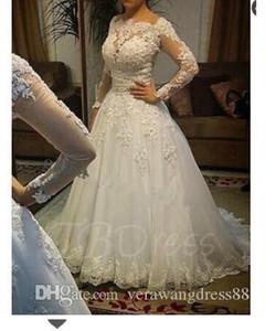 Plus Size Wedding Dresses Vintage Appliques Long Sleeve Ball Gown Plus Size Wedding Dress