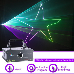 Sharelife Mini 500mw RGB Full Color Animation Pattern DMX Beam Laser Light Home Gig Party DJ Stage Lighting Sound Auto F6A