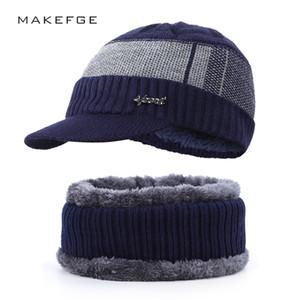 2019 hommes de la mode et les femmes écharpe chapeau en coton d'hiver fixé coton chaud chapeau extérieur bavette 2 ensembles, plus épais lettres de velours chapeau rayé