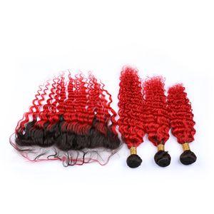 Deep Wave Red Ombre Vierge Indien Bundles avec Frontale # 1B / Red Dark Root Ombre Cheveux Humains 13x4 Fermeture Frontale En Dentelle Avec Tissages
