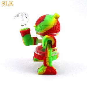 Robot şekli Silikon Su Boru 5.3 inç cam su bong Kırılmaz Silikon balmumu Dab Yağ Rig Konsantre Sigara Boru mini Bubblers