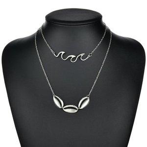 Böhmen Antique Silver Shell Wave Anhänger Halsketten Multi Layer Kette Halsreifen Halskette Kragen für Frauen Schmuck N1486