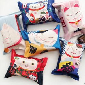 Cute Lucky Cat Пластиковые Tissue Box Хлопок белье Салфетка держатель Простой Стильный Дом Кухня Tissue Box Dropshipping