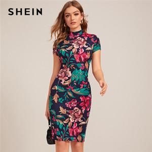 Shein Çok renkli Mock-Boyun Formu Gömme Çiçek Baskı Elbise Kadınlar Bahar kap Kol BODYCON Şık Kalem Midi Elbise