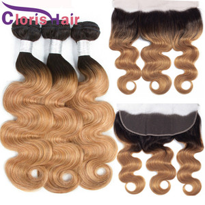 Colored 1B 27 Ombre Human Hair Bundles With Closure 13x4 Full Lace Frontals Honey Blonde Body Wave Malaysian Virgin Hair Weaves With Frontal