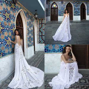 2021 Bohemian Wedding Dresses A Line Spaghetti Chiffon Lace Sexy Backless Wedding Dress Custom Made Boho Bridal Gowns Beach Style
